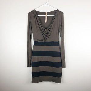 Bailey 44 Striped Long Sleeve Dress Cowl Neck